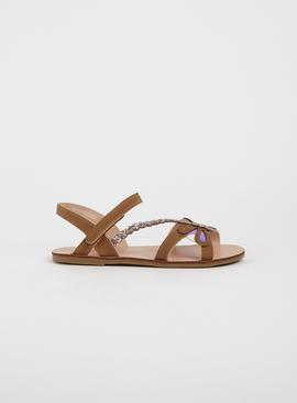 Tan Iridescent Dragonfly Sandals