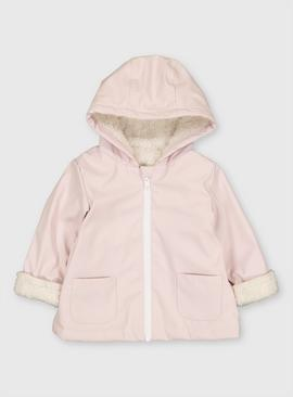 Pink Coated Hooded Jacket