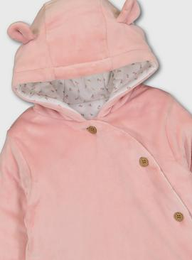 Pink Velour Hooded Jacket With Jersey Lining