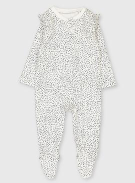 Monochrome Spotted Sleepsuit With Feet