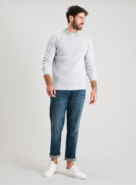 Winter White Rib Crew Neck Jumper