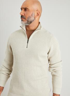 Stone Half Zip Ribbed Knit Jumper