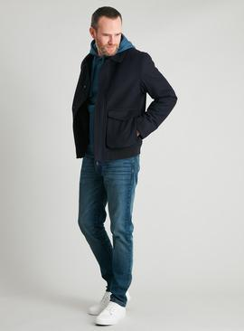 Navy Wool Rich Blouson Jacket