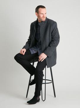 Grey Check Wool Rich Funnel Neck Coat
