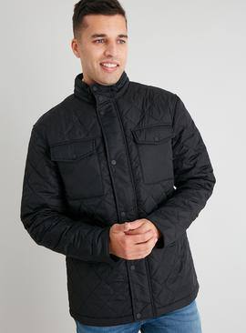 Black Quilted Shower Resistant Jacket