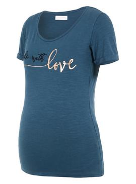 Dark Teal 'Made With Love' Slogan T-Shirt