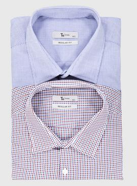 Red & Blue Gingham Regular Fit Shirt 2 Pack