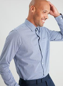 Navy Gingham & Stripe Regular Fit Easy Iron Shirt 2 Pack