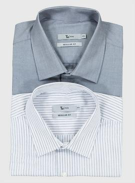 Grey & Stripe Regular Fit Easy Iron Shirts 2 Pack