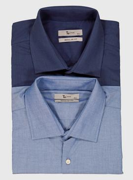 Blue & Navy Regular Fit Shirts 2 Pack