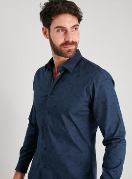 Navy Paisley Print Slim Fit Shirt With Stretch