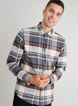 Charcoal Check Regular Fit Shirt With Stretch