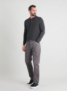 Grey Straight Leg Corduroy Trousers With Stretch