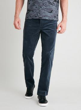 Airforce Blue Slim Fit Corduroy Trousers With Stretch