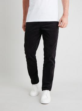Charcoal Grey Slim Fit Corduroy Trousers With Stretch