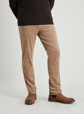 Camel Slim Fit Corduroy Trousers With Stretch