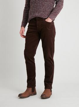 Brown Slim Fit Corduroy Trousers With Stretch