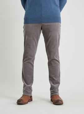 Grey Slim Fit Corduroy Trousers With Stretch