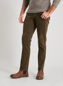 Olive Green Corduroy Slim Fit Trousers With Stretch