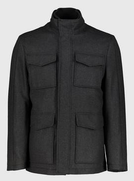 Grey Wool-Rich Utility Jacket