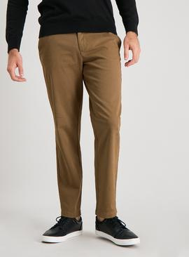 Tan Straight Leg Chinos With Stretch