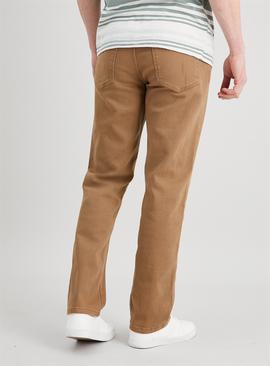 Sand Straight Leg Jeans With Stretch