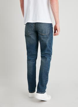 Vintage Wash Slim Fit Denim Jeans With Stretch