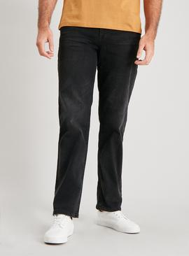 Grey Straight Leg Jeans With Stretch