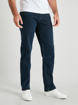 Blue Black Wash Straight Leg Jeans With Stretch