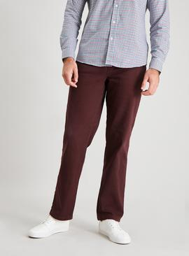 Burgundy Straight Leg Jeans With Stretch
