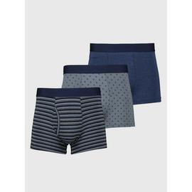 Grey & Blue Stripe & Geo Print Trunks 3 Pack
