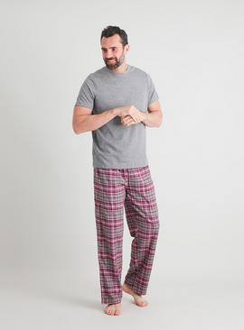 Grey Marl & Check Full Length Pyjamas