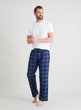 Navy Blue Check Flannel Pyjama Bottoms