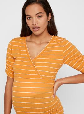 Yellow Striped Maternity Top