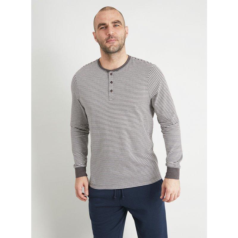 Grey Stripe Grandad Loungewear Top from Argos