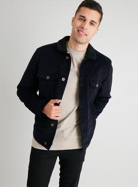 Navy Corduroy Borg Lined Trucker Jacket