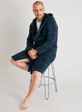 Green Tartan Check Borg Lined Dressing Gown