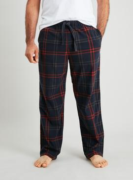Navy Window Pane Check Fleece Pyjama Bottoms