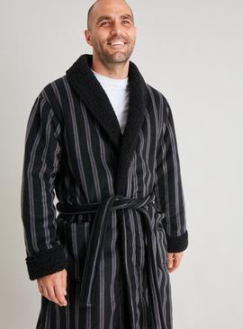Stripe Borg Lined Loungewear Dressing Gown