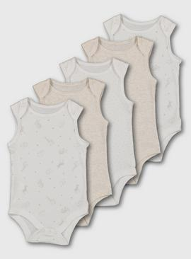 Safari Print Sleeveless Bodysuit 5 Pack