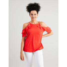 Coral Ruffle Cold Shoulder Blouse