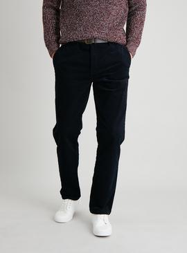 Navy Belted Straight Leg Corduroy Trousers