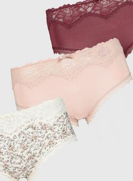 Pink Comfort Lace Knicker Shorts 3 Pack