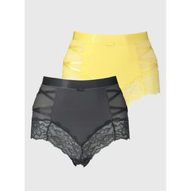 Grey & Yellow Secret Shaping Criss-Cross Knickers 2 Pack