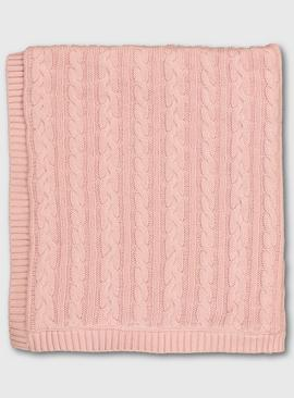 Pink Cable Knit Fleece Lined Shawl - One Size