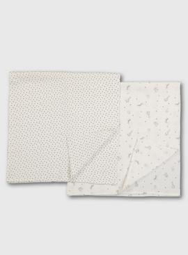 Star Print Extra Large Muslin Square 2 Pack - One Size