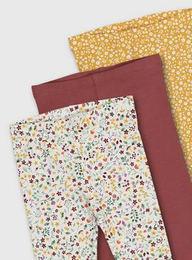 Woodland Print & Plain Leggings 3 Pack