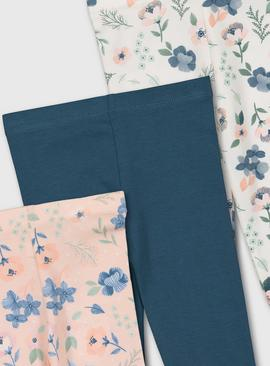 Floral & Teal Leggings 3 Pack