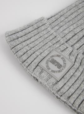 Grey Soft Touch Logo Beanie Hat