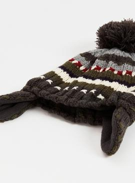 Knitted Trapper Hat & Mittens Set